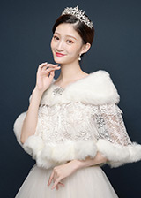 In Stock Fantastic Faux Fur Wedding Shawl